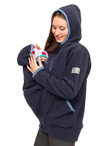 Viva la Mama 3in1 Tragejacke für Mama und Baby I Kängurujacke Fleecejacke Kapuzenjacke mit Tragefunktion Jesper - Marineblau - S