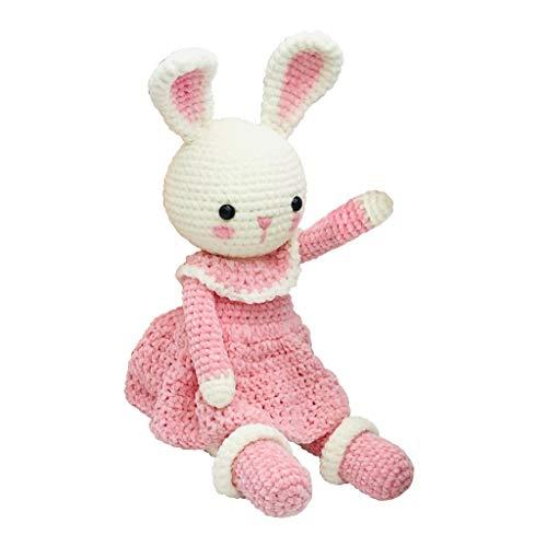 Mass Angefertigt Gestrickt Puppe, Rosa Hase Rock Handgemacht Spielzeug DIY Weberei Häkeln Chenille-Garn Weich Plüsch Geschenk