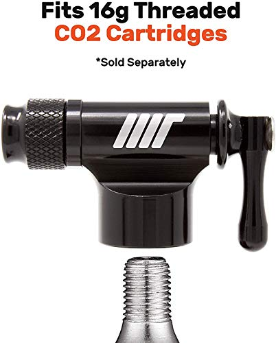 Manual Transport CO2 Bike Tire Inflator, CO2 Inflator, Fits Presta and Schrader Bike Valve - CO2 Tire Inflator for Road and MTB Pump Accessory - Includes Insulated Sleeve - No CO2 Cartridges Included