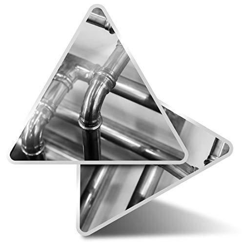 2 pegatinas triangulares de 7,5 cm – BW – Tubos de cobre Fontanero Calefacción Fun Calcomanías para ordenadores portátiles, tabletas, equipaje, reserva de chatarra, neveras #42734