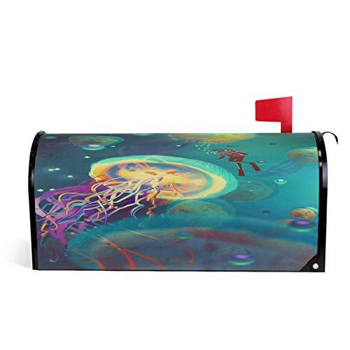Wamika Big Jellyfish and Diver in Fantasy Underwater Boîte aux Lettres magnétique pour extérieur Taille Standard 51 x 46 cm 52.6x45.8cm Multicolore