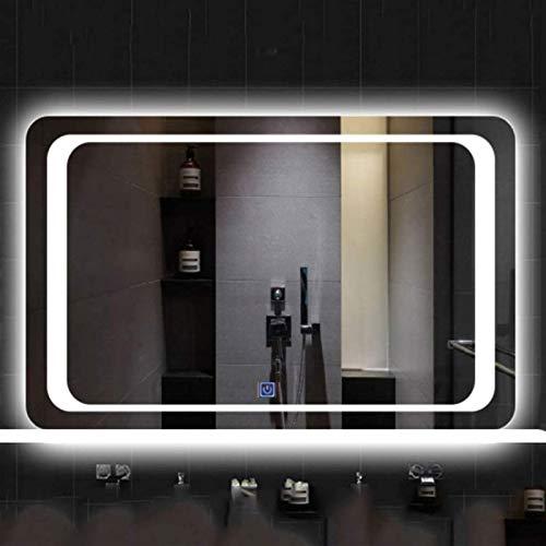 Espejos de baño LED Iluminación LED MONTAJE MONTAJE MONTAJE MONTAJE CON EL INICIO DE TOUCHO BAJO DE BAÑO ANTILIO ESPEJO (COLOR: Luz caliente, Tamaño: 60x80cm) ( Color : White Light , Size : 80x130cm )