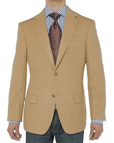Luciano Natazzi Men's 2 Button Luxe Camel Hair Suit Jacket Sport Coat Blazer (40 Short US / 50S EU, Camel)