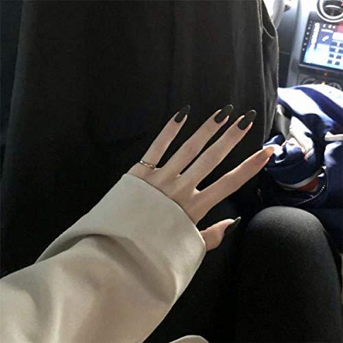 24 stks Zwart en Kaki Nep Nagels druk op Patch Springen Kleur Lange Frosted Ronde Kop Wearable Volledige Cover Afgewerkte acrylnagels