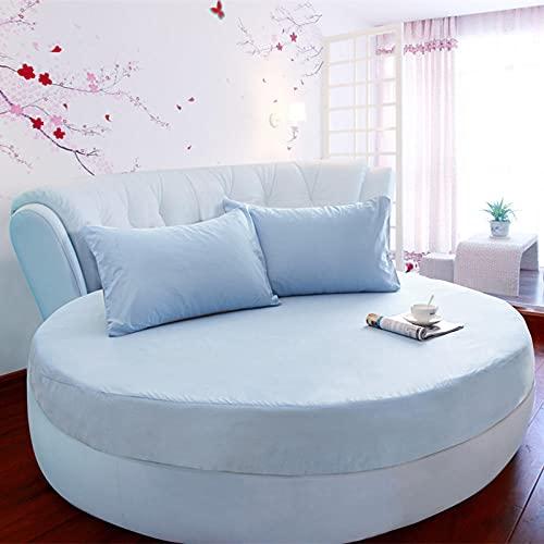 CYYyang Funda de colchón Anti chinches, Transpirable, Funda de Cama Redonda de algodón de una Pieza-Azul Cielo_2.2m