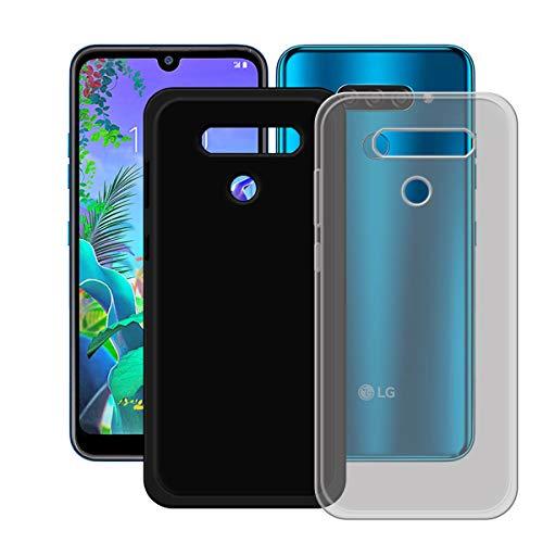 YZKJ Capa cinza + capa preta para LG K12 Max, luz de absorção de choque, mas durável, flexível, gel macio, cinza, capa de proteção de silicone TPU para LG K12 Max (6,2 polegadas)