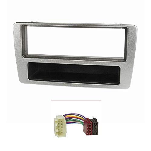 tomzz Audio 2417-002 - Marco de radio compatible con Honda Civic 2001-2006, aire acondicionado manual, plateado, con adaptador de radio ISO