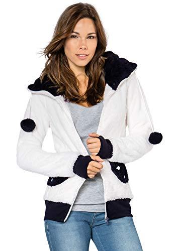 Sublevel Damen Panda Fleece-Jacke mit Öhrchen und Kapuze white1 L