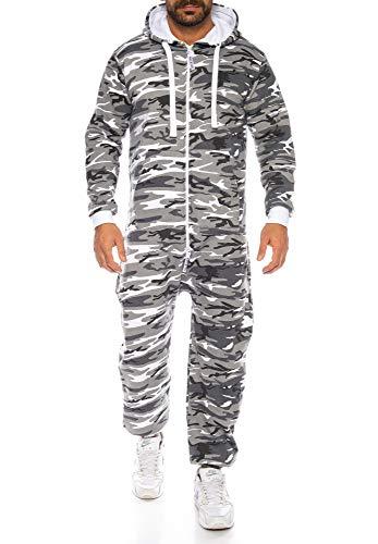 Raff & Taff Herren Jumpsuit Overall Trainingsanzug Fitnessbekleidung Onesie Ganzkörperanzug Basic und Schlicht (Metro, XL)