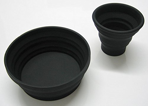 Silicone Folding Cup Bowl Set Telescopic Collapsible Outdoor Travel Camping Tool Black