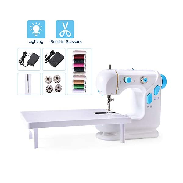 Beginner Sewing Machine, Mini Portable Electric Sewing Machine with Lamp and Thread Cutter, High & Low Speeds, Battery or Adapter Power Supplies