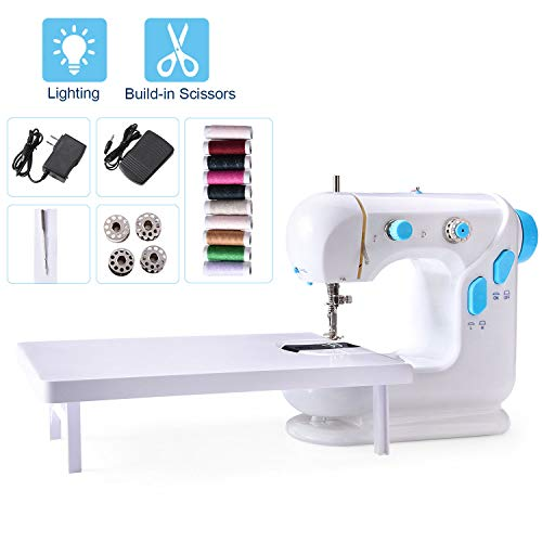 Beginner Sewing Machine Mini Portable Electric Sewing Machine with Extension Table Lamp and Thread Cutter Bonus Shared 10 Thread Spools
