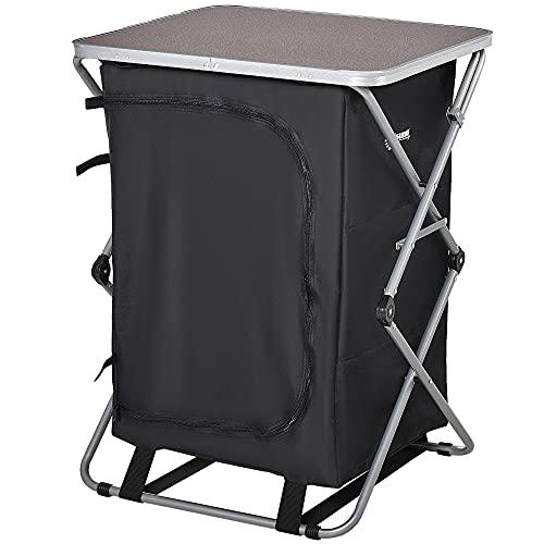 Outsunny Armario Cocina de Camping Plegable con Paravientos 3 Estantes Bolsa de Almacenamiento Encimera 58X65x93 cm para Exterior Acampadas Picnics Tela Oxford Negro