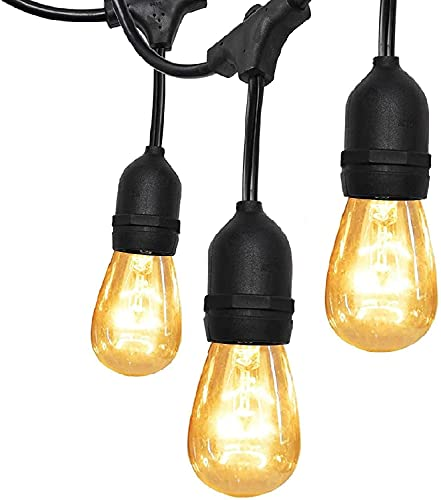 52FT UL Approval Outdoor String Lights SUPERDANNY Commercial Grade Dimmable 11W Incandescent Edison Bulbs, Heavy-Duty Decorative Patio Porch Beer Garden Backyard Cafe Market Lights-24 Sockets 30 Bulbs