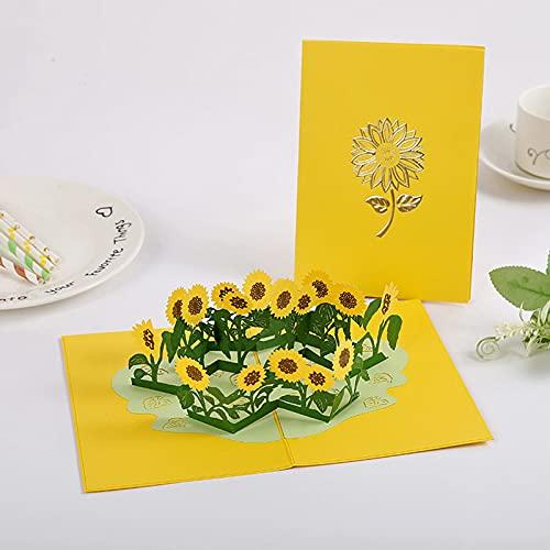 3D Karten Blumen,Pop Up Karte, Geburtstagskarte für Frau oder Freundin,Geburtstagskarte, Runder Geburtstag, Hochzeitstag,Mit Umschlag(Sonnenblume )