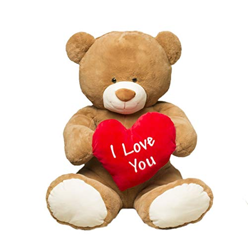 Gitzy Jumbo Teddy Bear with 'I Love You' Heart - Large Plush Bear - 35' Stuffed Animal