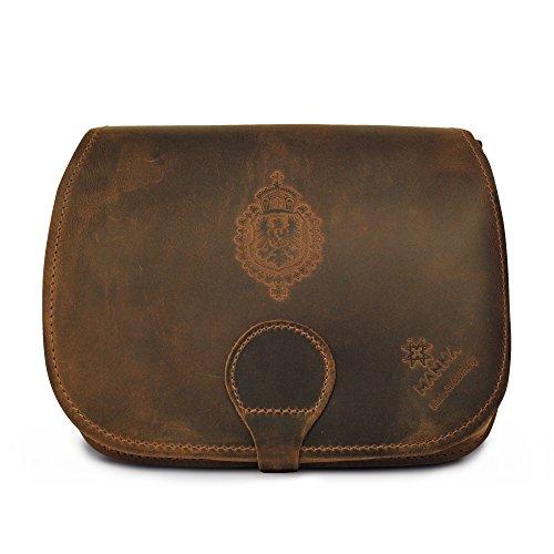 Manna Schultertasche aus Nubukleder, braun   Damenhandtasche mit Fach für kleine Tablets, sowie 2 weiteren Fächern für Accessoires, Portemonnaie etc.