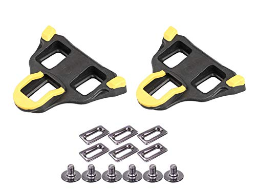 KESCOO 6-Grad-Schwimmer, selbstsichernd, SPD Cleats Clips Set (gelb) für Indoor Fahrradtrainer Rennrad Schuhe und Pedale kompatibel mit SH-11 SPD-SL System