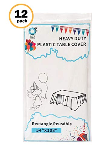 D&Z 12 Pack White Plastic Tablecloth Rectangle 54' X 108' Heavy Duty Disposable Table Cover for Party Birthday Wedding Thanksgiving Christmas