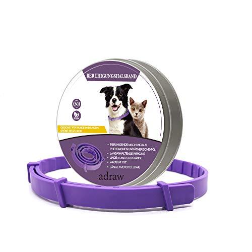 adraw Beruhigungshalsband für Hunde und Katzen | Beruhigungsmittel |zur Beruhigung und Entspannung bei Angst und Stress| passend für kleine, mittlere und große Haustiere | bis zu 60-Tägige Wirkung