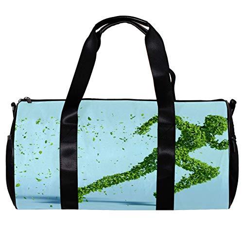 Bolsa de deporte redonda con correa de hombro desmontable hojas de sostenibilidad humana figura de entrenamiento bolso de noche para mujeres y hombres