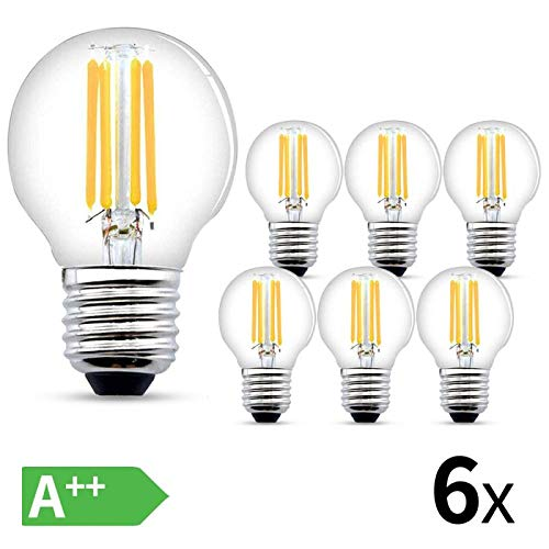 LED Glühbirne E27,4W LED E27 Warmweiss,470 Lumen Filament Lampe, ersetzt 40W Glühfadenlampe, 2700K Warmweiß Glühbirnen E27,6er Pack