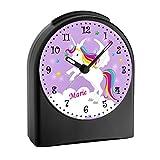 CreaDesign, WU-50-1034-05, Einhorn Farbe Lila, analog Kinderwecker schwarz, Funkwecker ohne Ticken, mit Licht, personalisiert mit Namen, 9,6 x 5,5 x 11,9 cm, 104 g