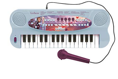 LEXIBOOK Teclado electrónico Frozen 2 Elsa Anna Olaf, piano de 32 teclas, Micrófono para cantar, 22 canciones de demostración, operado con batería, Azul Púrpura (K703FZ_50)
