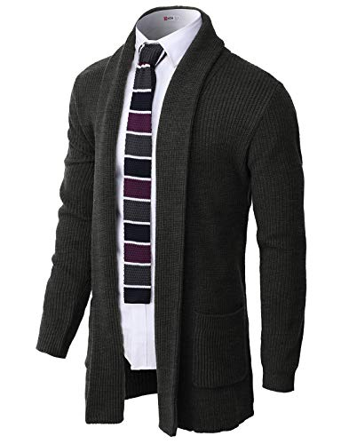 H2H Men's Casual Slim Fit Cardigan Shawl Collar Middle Line with No Button Charcoal US M/Asia L (CMOCAL051)