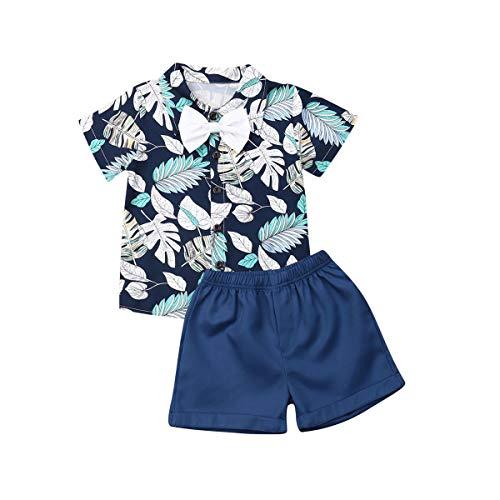 MAHUAOYIXI Due Pezzi Completi Bambini Ragazzi Camicia Stampa Floreale a Maniche Corte con Fiocco+ Pantalocini Abbigliamento Set Estivo (Blu, 1-2 Anni)