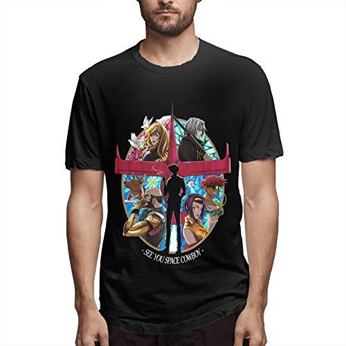 Cowboy Bebop Classic Hombres Música Tee Cuello Redondo Algodón Camiseta Transpirable Manga Corta Blusa Negro