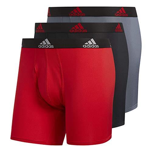 adidas Lot de 3 Boxers Performance pour Homme - Rouge écarlate/Noir / Noir / Noir / Onix/Noir - Taille M