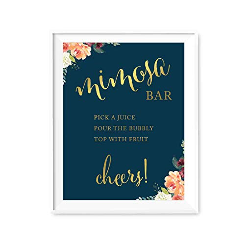 Andaz Press Personalized Wedding Party Signs, Navy Blue Burgundy Florals with Metallic Gold Ink, 8.5x11-inch, Cupcake Flavors Sign, 1-Pack, Colored Fall Autumn Decorations, Custom With Your Flavors