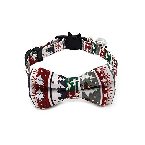 Katzenhalsband, Weihnachts-Katzenhalsband mit Glöckchen, verstellbare Sicherheitsschnalle, X-Small Hunde und Katzen (weiß)