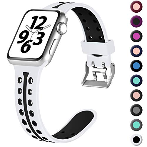 Laffav Compatible with Apple Watch Band 40mm 38mm, Breathable Soft Lightweight Sport Bands Compatible for iWatch Series 5 4 3 2 1, Black White, S/M