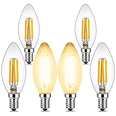 BRIMAX 4W Candelabra Led Bulbs Dimmable, 40 Watt Equivalent, E12 Base, 2700K Yellow Glow, C35 B10/B11 Filament Led Candle Light Bulbs for Foyer Chandeliers, Celling Fans and Other Wall Fixtures