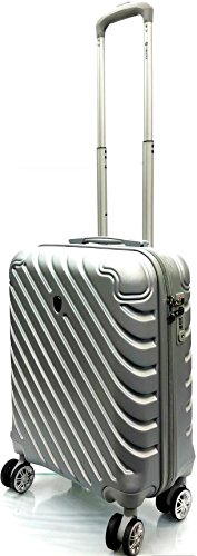 55x40x20cm Ryanair Size & EasyJet, BA, Jet2 Super Lightweight Cabin Approved Carry-ons Trolley 8 Wheeled Luggage Bag (FITS Within 56 x 45 x 25cm) (21' Ryanair, Silver)