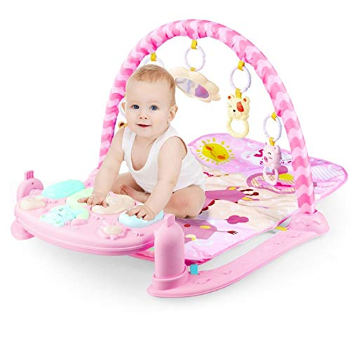 YADEOU Baby Play Mat Activity Gym, Baby Crawling Game Pad with Piano Music Pedal and Fitness Rack with Hanging Toys, Lay to Sit-Up Early Development Activity Centers for Infants and Toddlers