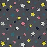 Softshell Stoff bunte Sterne, wind- und wasserabweisend,