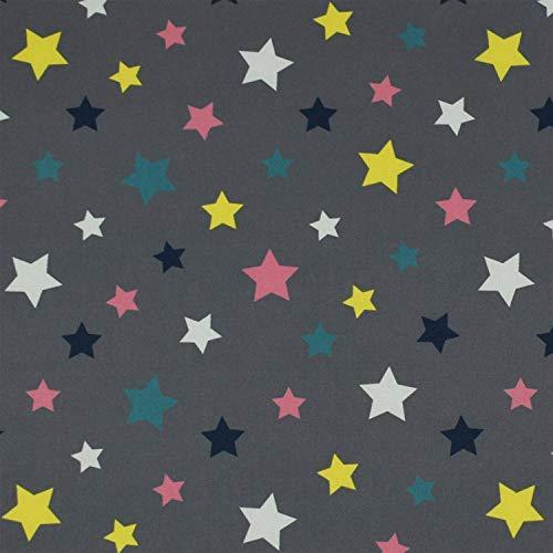 Softshell Stoff bunte Sterne, wind- und wasserabweisend, grau (50cm x 145cm)