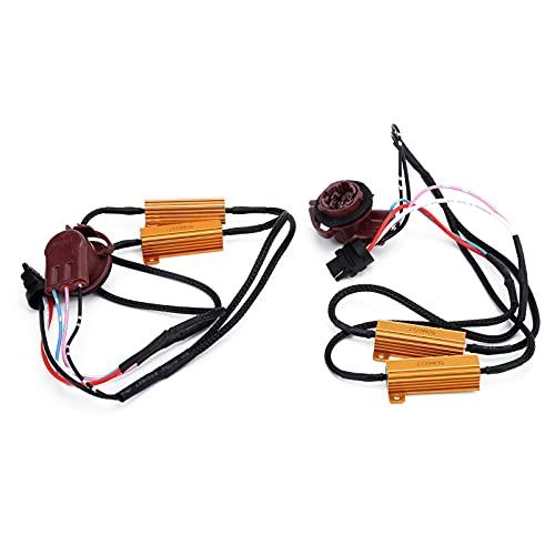 Aramox 2 Pezzi in Metallo e ABS 3157A LED Decoder Resistenza Anti-sfarfallio, 50 W Load Flash Error Canceller per Fari Auto Fendinebbia