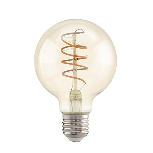 EGLO LED E27 Lampe, Amber Vintage Glühbirne, Spiral LED Globe, Retro Beleuchtung, 4 Watt (entspricht 25 Watt), 260 Lumen, E27 LED warmweiß, 2200 Kelvin, LED Leuchtmittel, Edison Glühbirne G80, Ø 8 cm