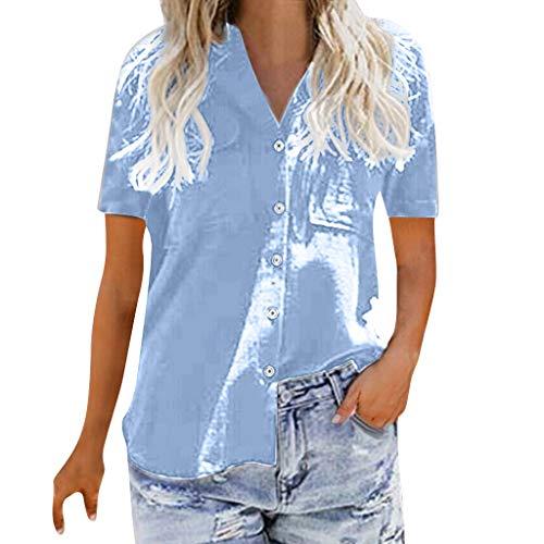 Sunhusing Women's Solid Color V-Neck Casual Button Buckle Short Sleeve Shirt Joker Office T-Shirt Blue