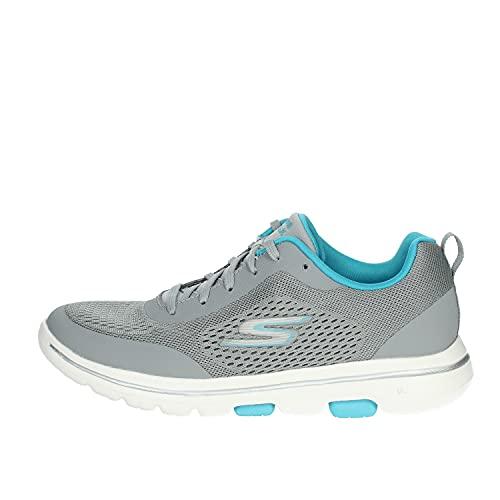 Skechers 15953/GYBL Go Walk 5-Exquisite Damen Sneaker Turnschuhe Sportschuhe grau/türkis, Größe:38, Farbe:Grau