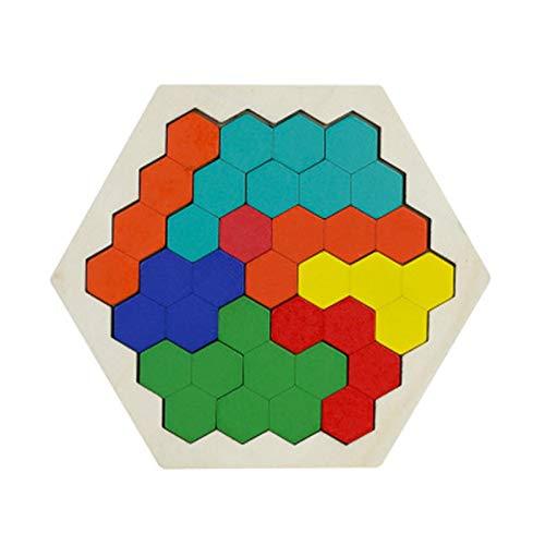 Rompecabezas de madera Puzzles de madera IQ Hexágono Puzzle forma de panal Tangram Board Toy Interesante Cambiante Puzzle Juguetes para Niños Adultos Educación