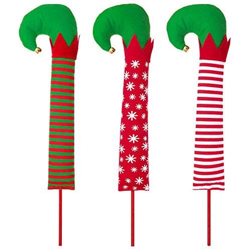 Skylety 3 Pieces Christmas Elf Leg Elf Feet Ornaments Red Green Stripe Plush Stuffed Elf Leg with Shoes Sticks and Jingle Bells Festive Decorations Ornaments for Christmas Tree Topper Xmas Decoration