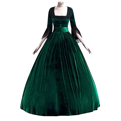 BIBOKAOKE Vêtements gothiques pour femme robe médiévale vintage dentelle médiévale vêtements pour femme robe longue au sol rétro costume gothique renaissance victorienne vêtement de princesse
