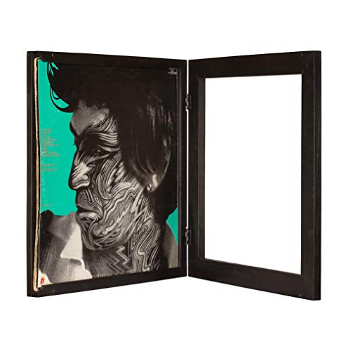 KAIU Vinyl Record Frame Solid Wood with Clear Acrylic to Display Your Album Innovative Open Close Mechanism to Ease Your Album Changeover Black LP
