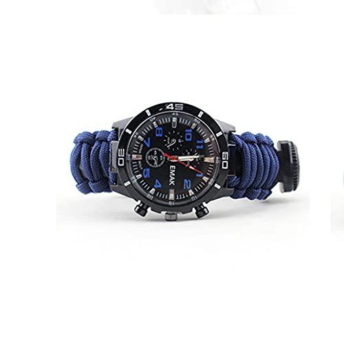 NJZY Reloj termómetro de brújula multifunción al Aire Libre para Acampar Emergencia de Supervivencia Flintstone,Blue