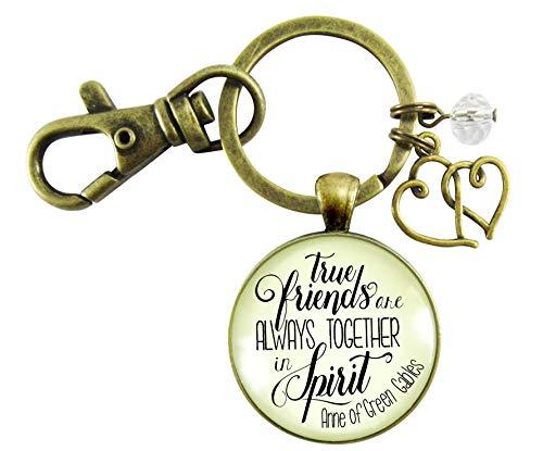 True Friends Are Always Together In Spirit Keychain Friendship Quote Womens Jewelry Gift